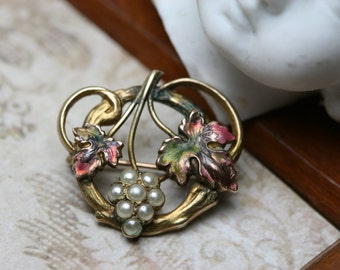 Vintage /Antique Gold Tone Metal Enamel and Glass  Pearl Pin - Grapes and Leaves