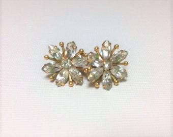 Vintage Amco Gold Filled Clear Rhinestone Earrings