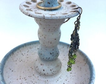 Jewelry tower, earring bowl in Matt Cream and Soft Blue Ready to
