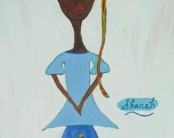 black girl art,black girl paintings,blue skirt,Afrikaans art,African American art,black baby doll,black woman painting,sharahsshoices