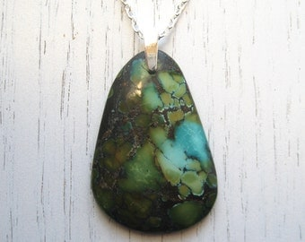 Blue and Green African Turquoise Pendant Necklace