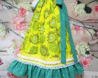 Girls Dress 5/6 Bright Yellow Floral Green Flower Pillowcase Dress, Pillow Case Dress, Sundress, Boutique Dress