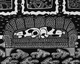 Diptych linoleum print by Coco Berkman Dogs on Sofas series