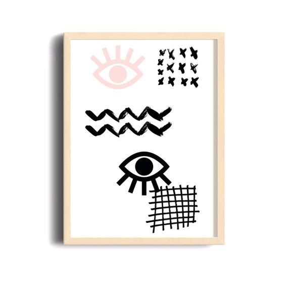 MAUVAIS OEIL 001 // Abstract art, 12x18, minimalist art print, geometric print, Scandinavian style, nordic design, pink, eye