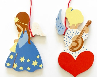 Wooden Angels Erzgebirge Figurines Flat Wooden Christmas Tree Ornaments Musicians