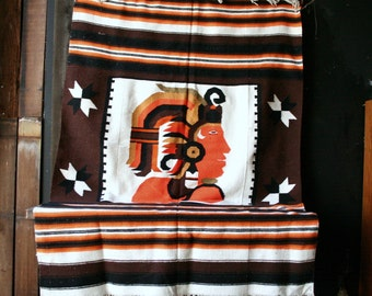 Large Woven Rug Or Wall Hanging Orange Brown Aztec Design Vintage From Nowvintage on Etsy