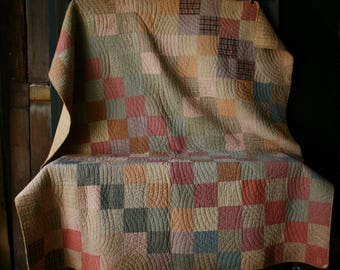 Antique Quilt 40s Soft Color Block Greens Reds Grays Vintage From Nowvintage on Etsy