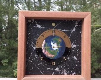"""10"""" Mahogany Earth Clock"""