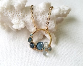 Winterberry necklace--14k gold filled London blue topaz sky blue topaz wire wrapped coiled hoop dangle drop pendant necklace