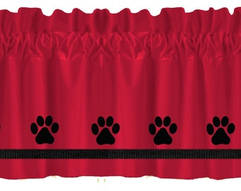 Paw Prints Dog Window Valance Curtain - Your Choice of Colors