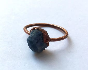 CLEARANCE SALE Rough sapphire copper ring