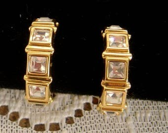 Vintage Swarovski hoop Earrings Swarovski crystals gold tone setting