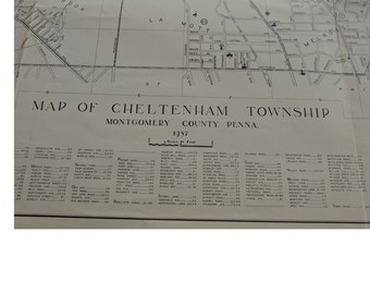 Original Map Of Cheltenham Township, Montgomery Co., Pennsylvania - 1937