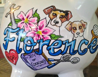 Piggy Bank Personalized Hand Painted Special Occasion Things I Love Birthday Gift Bank