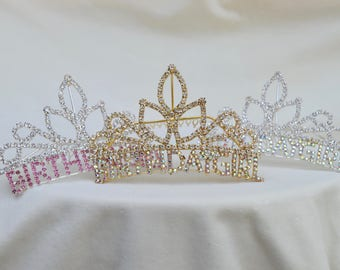 Birthday Girl Rhinestone Tiara / Birthday Girl Crown /  Tiara / Birthday Girl Rhinestone Comb Tiara / 3 Color Combinations Available