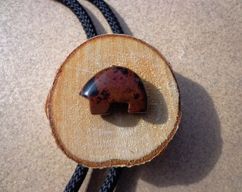 Mahogany Obsidian Bolo Tie, Zuni Style Carved Bear Gemstone, Birch Wood, Western Bolo Tips, Gifts for Men, Protection and Healing Stone