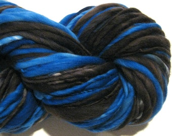 Super Bulky Handspun Yarn Black and Blue 114 yards hand dyed wool  black yarn blue yarn waldorf doll hair knitting supplies crochet supplies