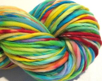 Super Chunky Bulky Handspun Yarn Happy 148 yards hand dyed merino wool rainbow yarn waldorf doll hair knitting supplies crochet supplies