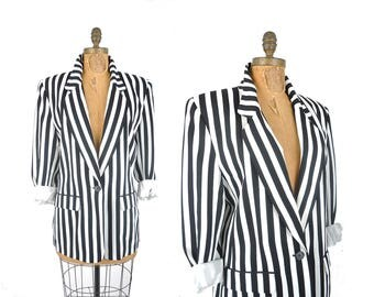 80s black and white striped blazer / Liz Claiborne vertical striped oversized jacket / 1980s single button blazer