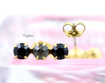 Triple Rhinestone Earring Studs Swarovski Crystal Ear Posts Jet Black & Black Diamond - 4