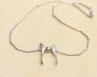 Silver Butterfly Necklace, Enamel Butterfly Necklace, Enamel Necklace, Silver Chain Necklace, Butterfly Necklace, Blue Butterfly Necklace