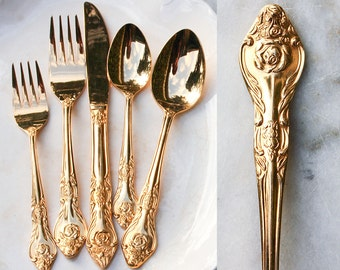 Vintage Gold Flatware / 1 Place Setting / 5 Pieces / 1950's 23K Gold Electroplate / Holiday Entertaining