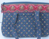 Vera Bradley Blue and Red Print Quilted Handbag Vintage