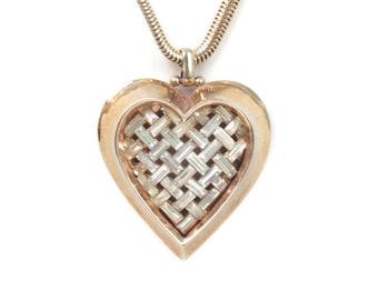 "Crystal Pendant Heart  Necklace Trifari  ""Heart Throb"" A. Philippe 1951"