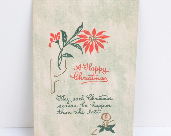 Antique Christmas Postcard A Happy Christmas Poinsettias Candle