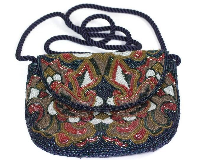Heavily Beaded Evening Handbag Multi Color Beads Special Occasion Wedding Evening