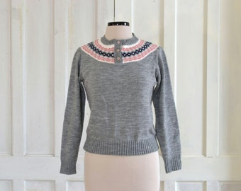 70s Fair Isle Sweater  Heathered Grey Pullover  Acrylic Sweater  NWT