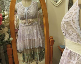 Vintage Kitty.. hand dyed lavender needle lace tunic, pastels, pink, periwinkle blue, romantic, gorgeous.. ooak, shabby chic, ... med - xl