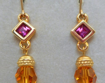 NOS Swarovski Savvy Pink Topaz Earrings