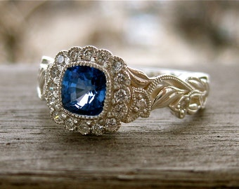 Blue Sapphire Ring in Sterling Silver with Diamonds in Flower Buds on Vine Setting Size 6