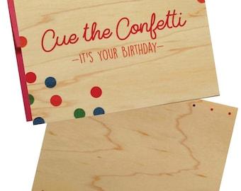 Confetti Birthday Wood Veneer Greeting Card