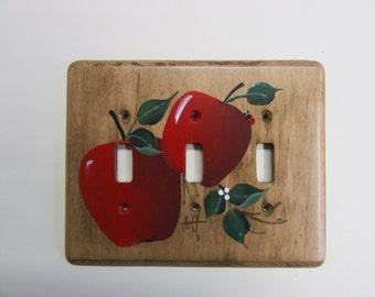 Triple interrupteur plaque murale cuisine de campagne pommes rouges
