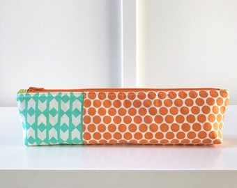 Pencil Pouch in mint and orange | Pencil Case | Pencil Bag | Zippered Pouch