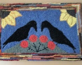 GOSSIPING CROWS Large Rug Hooking Kit with cut wool fabric strips