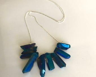 Long Blue Necklace, Blue Statement Necklace, Blue Beaded Necklace