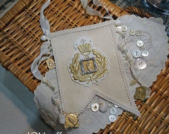 Fabric and Lace Altered Canvas  Mini Banner - blessed mother Mary - NO37