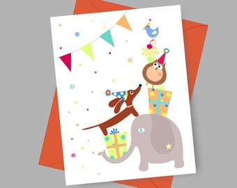 Dachshund Dog Card -Birthday Doxie and Friends with Envelope and Sticker in Bright Tones - Dog Birthday Card