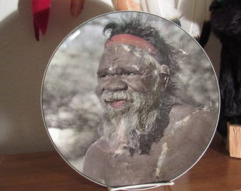 Royal Doulton Australian Aborigine Fine China Plate  Elder Aboriginal Collectible Plate