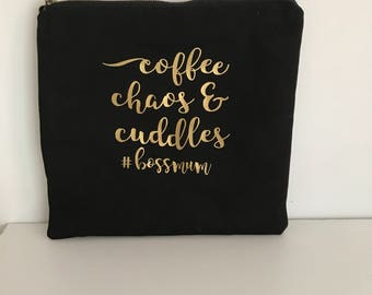 Coffee Cuddles #BossMumWet Bag//zippered Pouch