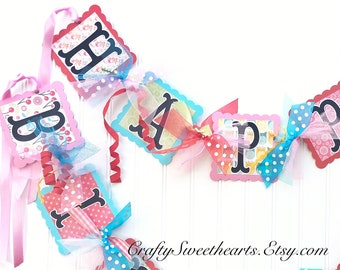 Birthday Banner Happy Birthday Banner Friend Birthday Party Decor Girl Party Theme Owl Birds Cherries