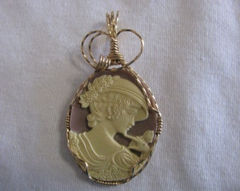 Handmade Wire Wrapped Resin Cameo Using 14 k Gold Filled Wire