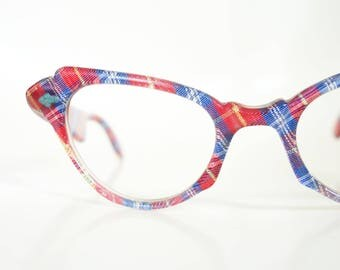 1950s Cat Eye Plaid Eyeglasses Vintage Womens Blue Red Tartan Geek Chic Nerdy Cateye Glasses 50s Fifties Retro Pin Up Girl Sexy