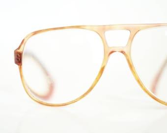 Mens 1980s Aviator Glasses Apricot Orange Clear Eyeglasses Safilo Retro Eyewear Retro Classic 80s Eighties Geek Chic Nerdy Authentic Italy