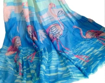 Flamingo Shawl, Vintage Pink Flamingo Scarf, Tropical Swimsuit Coverup