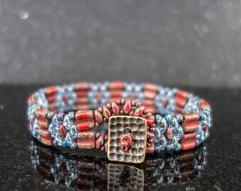 Groovy Denim Beadwoven Bracelet, Red Groovy Tile Beaded Bracelet