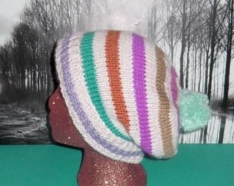 HALF PRICE SALE Digital file pdf download knitting pattern only-Chunky Stripe Bobble Slouch knitting pattern pdf download